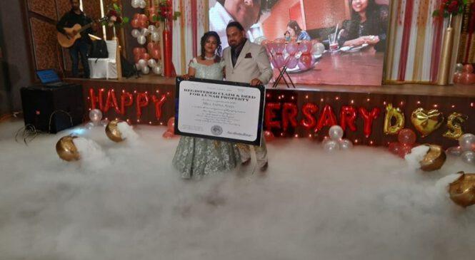विवाहको वर्षगाँठमा श्रीमतीलाई चन्द्रमामा २३ रोपनी जग्गा उपहार